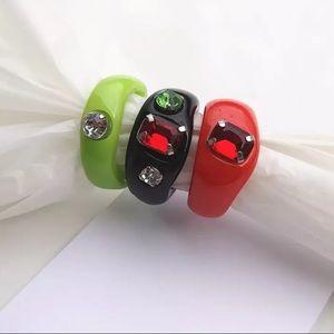 Chunky Acrylic Gemstone Rings - Set of 3